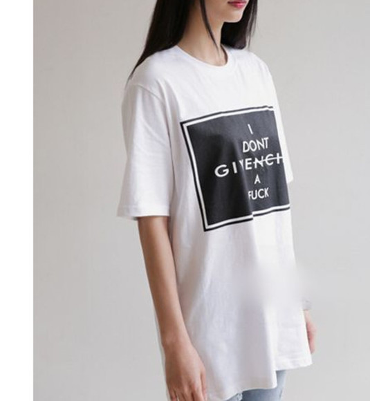 t-shirt blogger chic blogger fashion vogue givenchy givenchy t-shirt white tee i don't givenchy a fuck shirt casual chic white t-shirt
