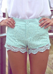 shorts,teal,lace,mint,pastel blue,High waisted shorts