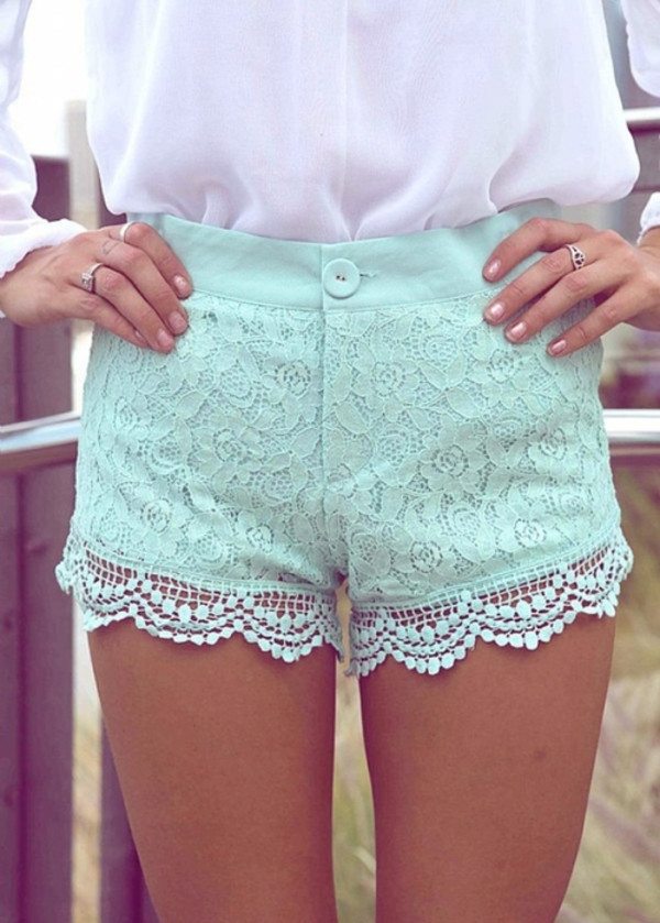 shorts teal lace mint pastel blue High waisted shorts