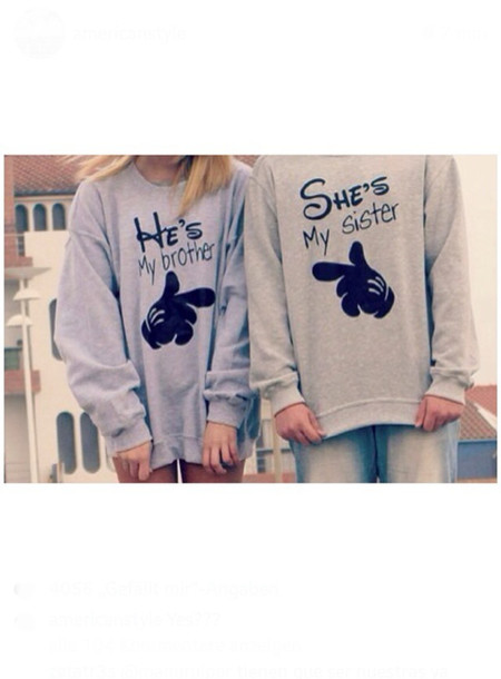 sweater shirt disney disney disney sweater micky mouse hands micky sweater brother sister big brother little sister family siblings grey fluffy cool 90s style goth pastel goth grey sweater disturbed style sister brother disney cute sweater couple sweaters grey sweater oversized sweater