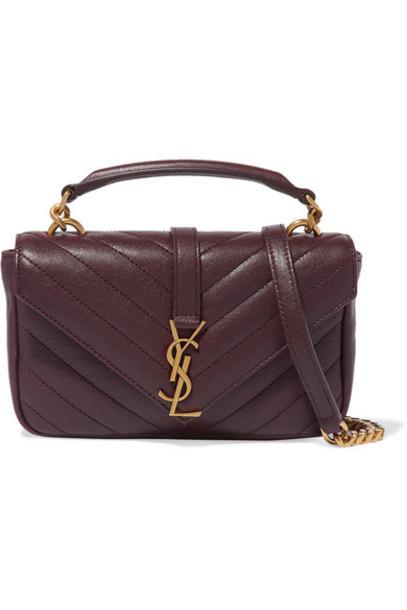 Saint Laurent - College Quilted Leather Shoulder Bag - Burgundy