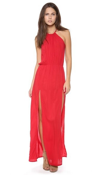 dress halter dress slit red