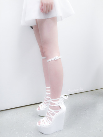 shorts shoes babydoll creepyyeha lolita pale urban white ankle boots pumps white ballerina cute high heels cute