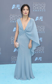 dress,constance wu,light blue,blue,chiffon,v neck,prom dress,prom,gown,plunge v neck,celebrity style