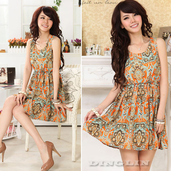 Hot fashion womens ladies summer crew neck sleeveless print designer chiffon casual mini dress size s m l free shipping 0595