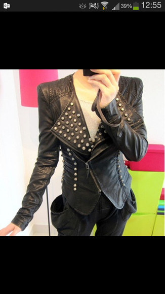 studded black coat leather leather jacket studs spikes