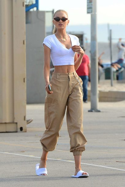 pants crop tops romee strijd model off-duty white top streetstyle