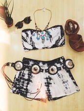 romper,tie dye,bandeau,shorts,matching shorts and top
