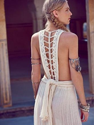 dress backless white open back vintage