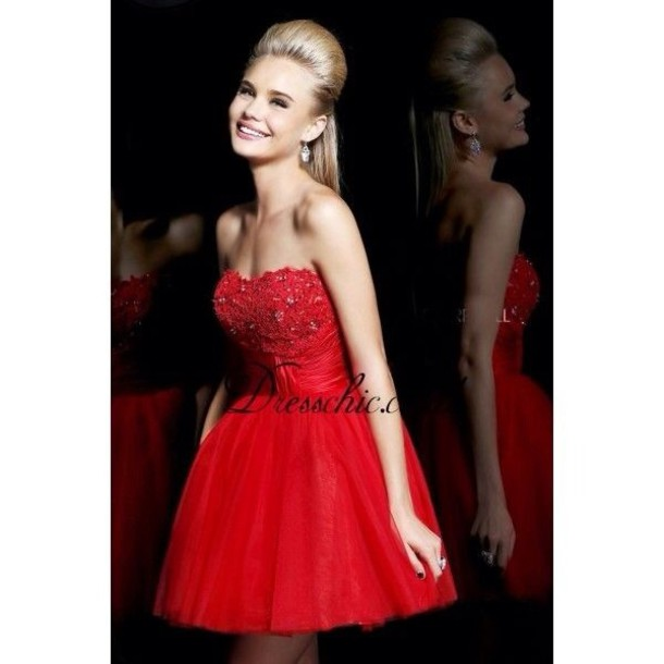 dress, red, short, flowy, prom, rhinestones, bedazzled, red jewels ...