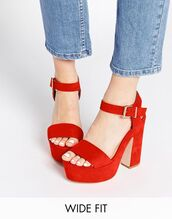 shoes,red shoes,wide fit shoes,wide shoes,heels,high heel sandals,platform heels,red heels,platform shoes,asos,red sandals,red high heel sandals