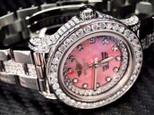 jewels,watch,pink,silver,real,diamonds,rolex