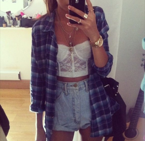 clothes flannel shirt jacket tank top shorts high waisted short blue flannel button up shirt