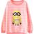 ROMWE | ROMWE Striped Minions Print Pink Sweatshirt, The Latest Street Fashion
