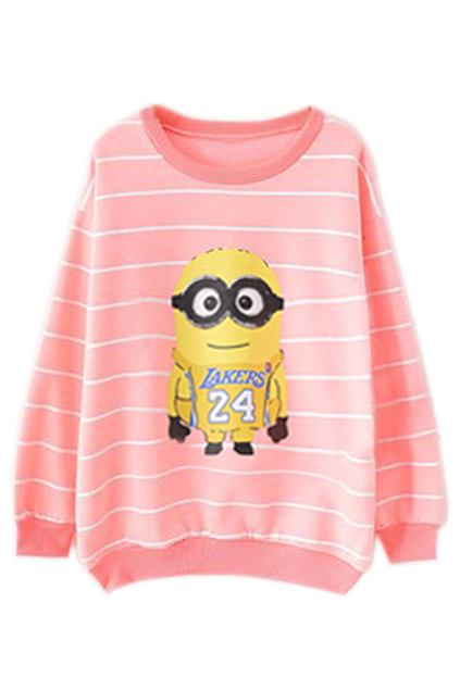ROMWE | ROMWE Striped Minions Print Pink Sweatshirt, The Latest Street Fashion