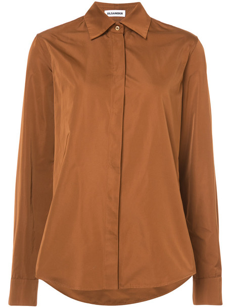 shirt long women silk brown top