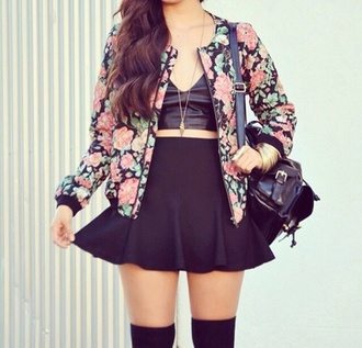 jacket bomber jacket floral flowers floral print bomber jacket aztec tribal pattern tribal jacket underwear skirt shirt floral jacket shorts annemerel blogger