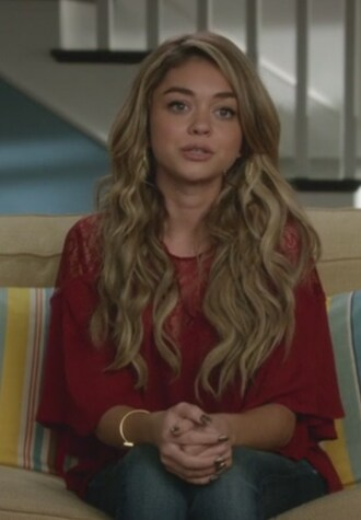 blouse red yoke sarah hyland haley dunphy modern family lace jewels
