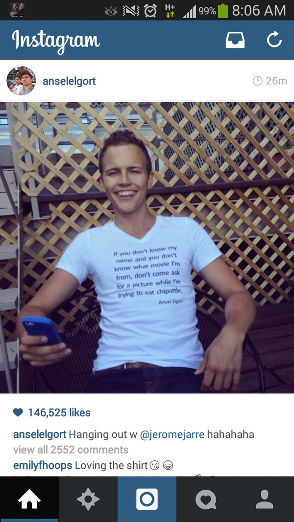 jerome jarre ansel elgort shirt ansel elgort t-shirt top quote on it