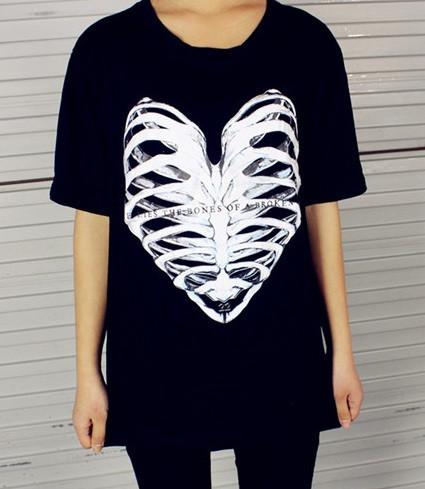 Bones of a broken heart print t