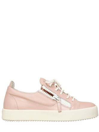 sneakers leather light pink light pink shoes