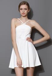 dress,vigor,skater girl,slip dress,white,pu sleeve