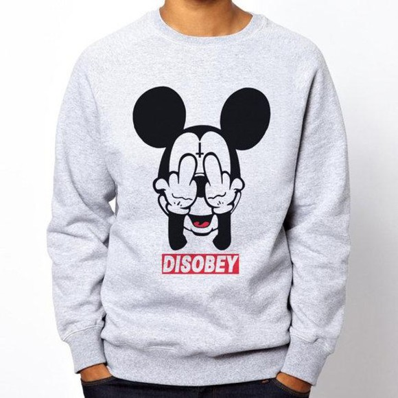 sweater disney obey disobey dope as f*** fuck off upside down cross