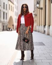 shoes,boots,ankle boots,leather boots,midi skirt,leopard print,mini bag,blazer,white t-shirt