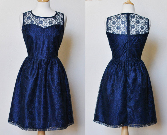 PROVENCE Navy Navy blue lace dress sweetheart neckline  by mfandj