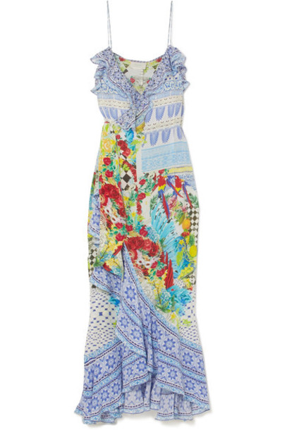 Camilla dress maxi dress maxi embellished blue silk