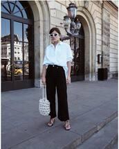 pants,high waisted,sandal heels,bag,sunglasses,earrings,white shirt
