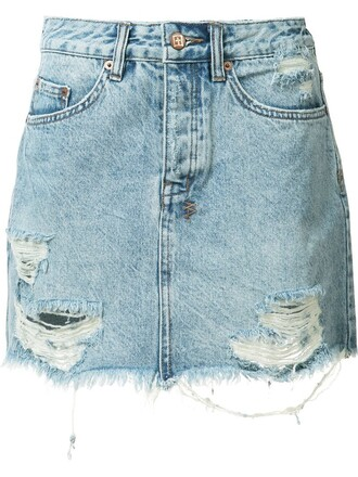 skirt denim skirt denim women ripped cotton blue