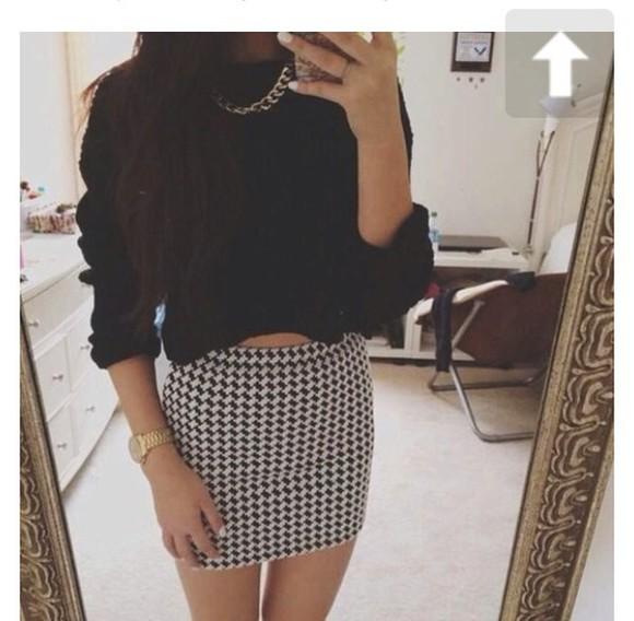 black and white black white skirt black and white skirt pencil skirt mini skirt