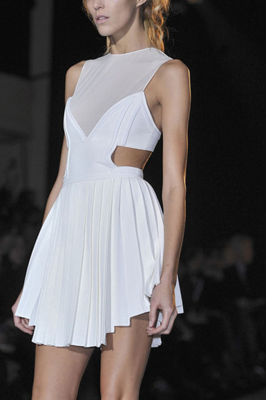 white asymmetrical dress cut out sheer pretty'