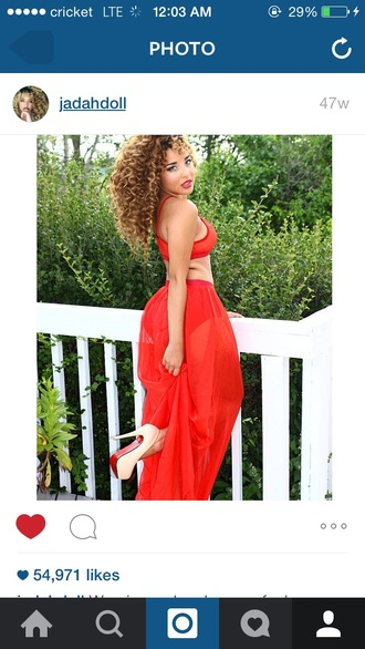 skirt jadah doll sheer red red skirt