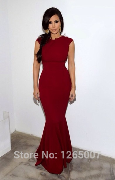 Aliexpress.com : Buy Kim Kardashian Round O Neck Cap Sleeves Red Mermaid Celebrity Dress Special Occasion Dress Maxi Long Dress from Reliable dress up plain dress suppliers on SFBridal