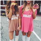 shirt,oversized t-shirt,t-shirt dress,pink t-shirt,halloween,dress,pink dress,casual,casual dress,cute,cute dress,brown,girly,beautiful,matching couples,matching shirts,bff,bff shirts