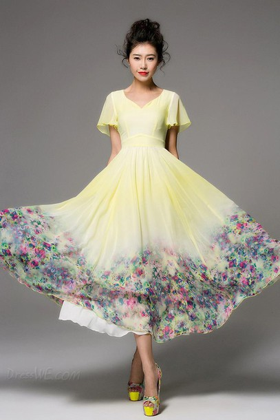 dress vintage maxi dress floral dress chiffon dress yellow dress boho dress summer dress bridesmaid chiffon flowy dress midi dress