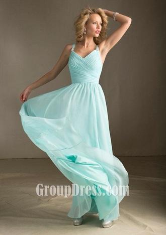 dress light blue straps floor length