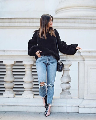 shoes black sweater boots black and white denim blue jeans ripped jeans sweater knitwear knitted sweater