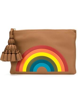 rainbow clutch brown bag