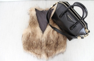 furry coat fur bag cardigan fashion outfit style coat amazing faux fur vest vest givenchy warm rain cold 2014 2015 2013 new look best ever in life animal snow new trend this year givenchy bag animal clothing fluffy