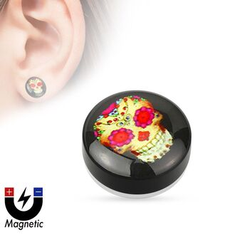 jewels mystic steel jewelry magnetic earrings fake ear plug sugar skull