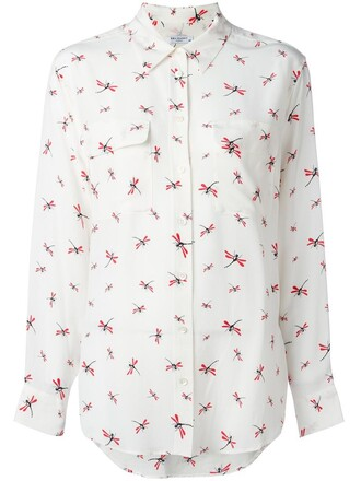 shirt women dragonfly white print silk top