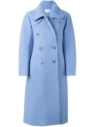 coat double breasted blue