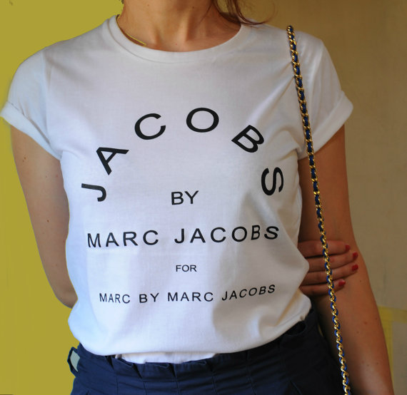 jacobs by marc jacobs, white t-shirt, edgy, t-shirt, marc jacobs, nail  polish, necklace, bag, top, marc, jacobs, jewels, marc by marc jacobs, white,  shirt, ... 46033ebe4cfb