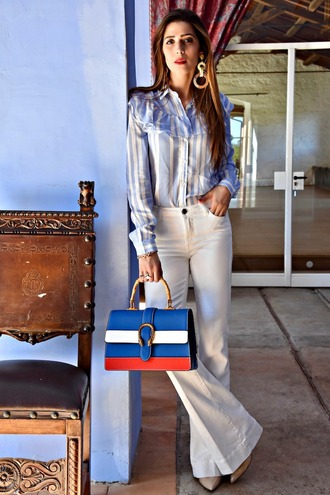 cosamimetto blogger shirt pants bag jewels shoes spring outfits handbag