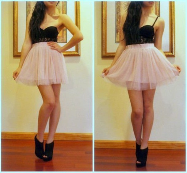 dress pink black lace wedges shoes skirt