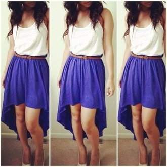 skirt purple purple skirt belt waist belt brown belt tank top white tank top dress blue dress simple dress