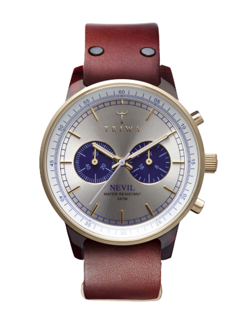 Triwa Blue Face Nevil Watch in Tan
